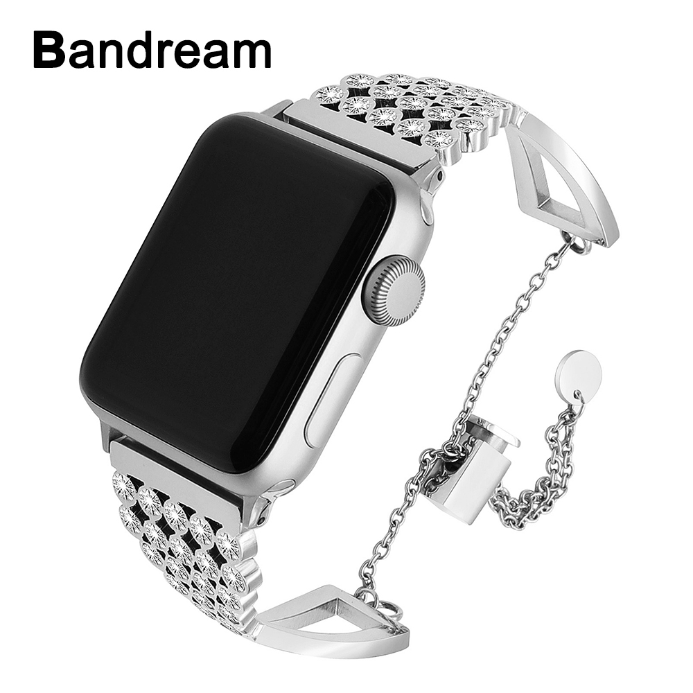 Stainless Steel Jewelry Watchband for iWatch Apple Watch 38mm 40mm 42mm 44mm Series 4 3 2 1 Diamond Band Wrist Strap Bracelet
