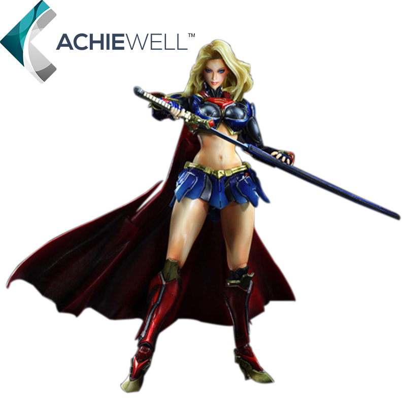 ФОТО New PA Kai Supergirl PVC 25cm Action Figure Super Girl Model Fan Collection Plastic Toys Play Arts Kai Figure Dolls