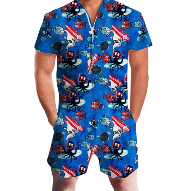 c2e1606e517 Octopus Print Rompers Men Sea Water Short Sleeve 3D Jumpsuit Playsuit  Hawaii Harem Cargo Overalls Summer One Piece Men Sets