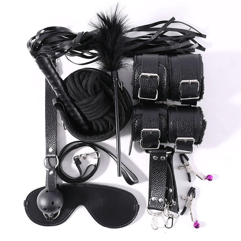 10 Pcs PU Leather Adults Erotic Sex Toys For Couples Women BDSM Bondage Set Sex Gag Handcuffs Whip Rope Sexy Lingerie Costumes