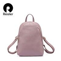 REALER женский модный рюкзак высокого качества из натуральной кожи, школьный рюкзак для девочек подростков, маленький рюкзак кожаный,сумка ж