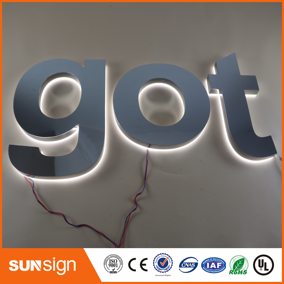 Custom Shiny Stainless Steel Led Backlit Letters