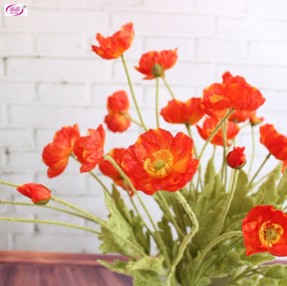 Compare prices on silk flower stems online shoppingbuy low price beautiful artificial flowers poppy stem silk flowers home wedding decoration giftchina mainland dhlflorist Gallery
