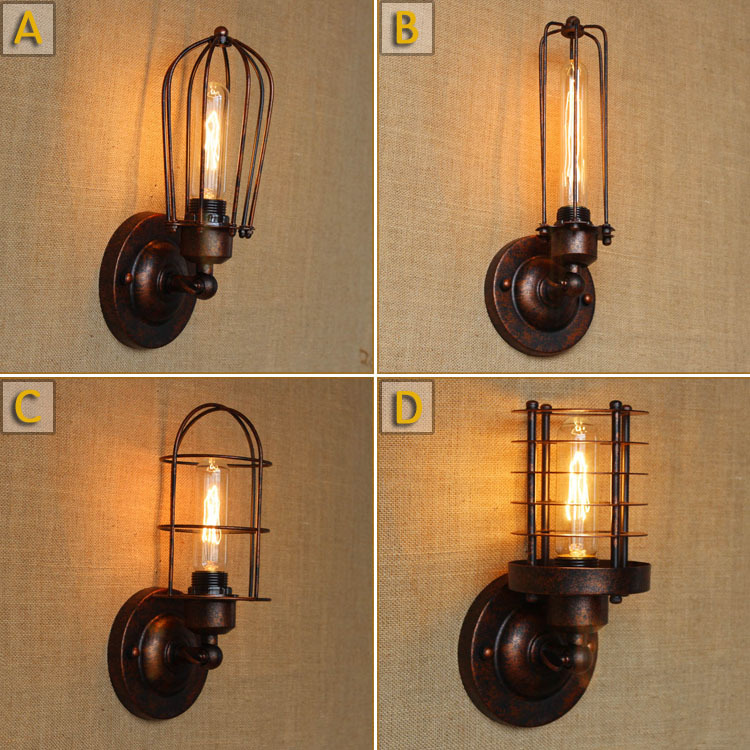 American Rural RH Style Iron Vintage Rust Wall Lamp Edison Bulb Coffee Shop Light Festival Decorative Wall Light Free Shipping rural style wall lamp vintage wall lamp edison wall light contains edison bulbs free shipping