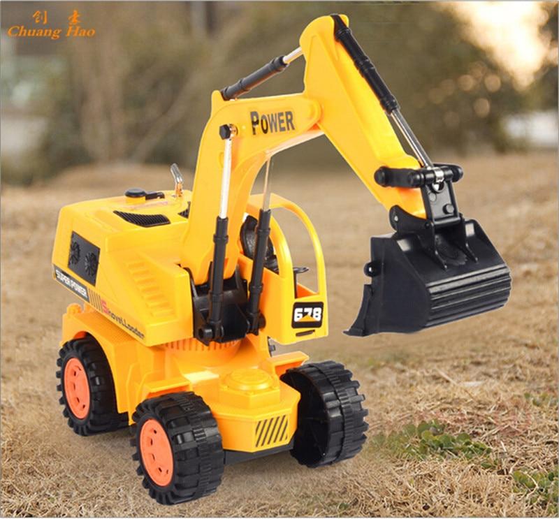 Wire Excavator 4CH RC Hydraulic Excavator Remote Control Toys RC Tractor Truck Carros Remote Control Children Electric Car W191