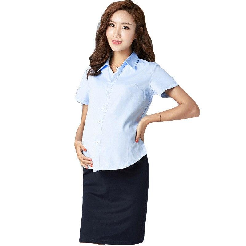 Summer maternity dress shirt Lady Blouse OL office pregnant women shirt Tops Pregnant cotton work T shirt for Pregnant Women