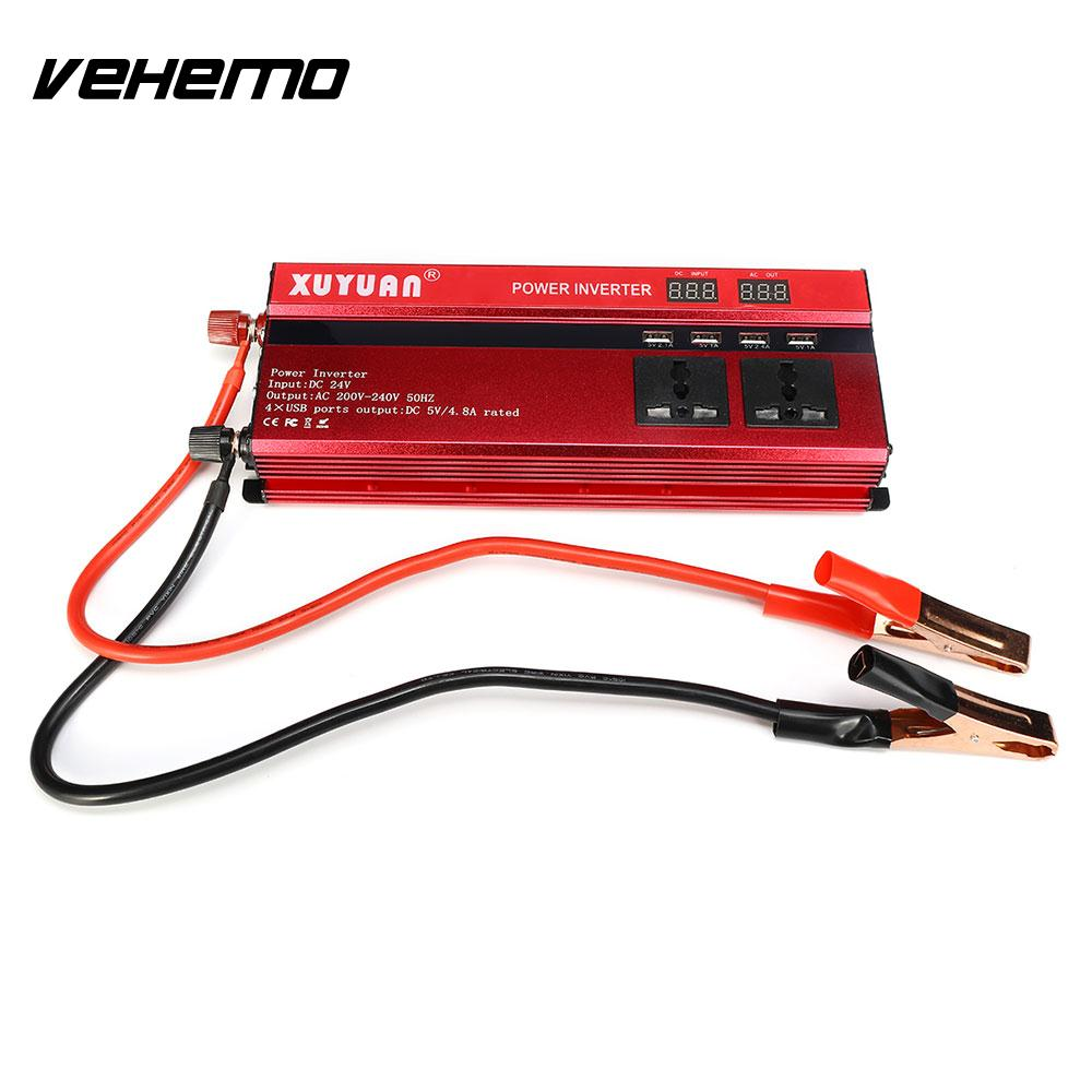 Vehemo Modified Sine Wave 2000W Peak Solar Power Inverter Auto Inverter Power Supply Car Inverter Vehicle Transformer