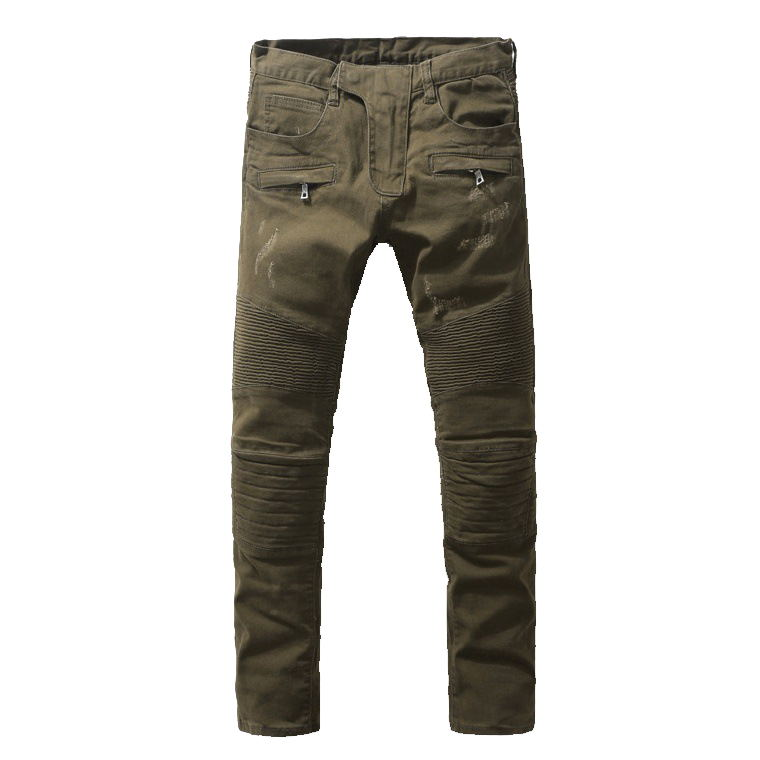 ФОТО 2016 New Men's Nightclubs army green Jeans, Fashion Designer many pocket Denim Jeans Men,plus-size 28-38, casual jeans