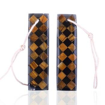 Pendientes de diseño, obsidiana, juego de pendientes de ojo de tigre Intarsia, joyería Popular hecha a mano DIY suministro de joyería 35x9x3mm, 4,7g