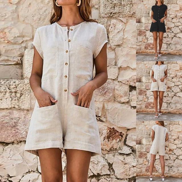 2019 summer women's jumpsuit shorts short sleeve linen casual button pocket loose wide leg sexy jumpsuit shorts 4.8