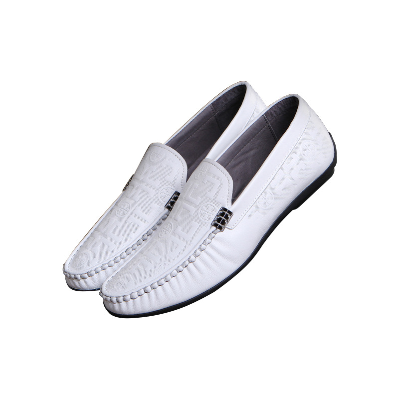 High-quality manufacturers of new metal low to help men's shoes embossed British pure color Peas wholesale