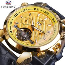 Forsining Hot Tourbillon Male Mechanical Watch Golden Grand Automatic Date Multifunction Genuine Leather Business Men Wristwatch купить недорого в Москве