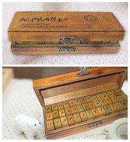 Wholesale 2Set 84pcs Lot 2 Kind Font Retro Wooden Stamp Alphabet Character Number For DIY Decoration
