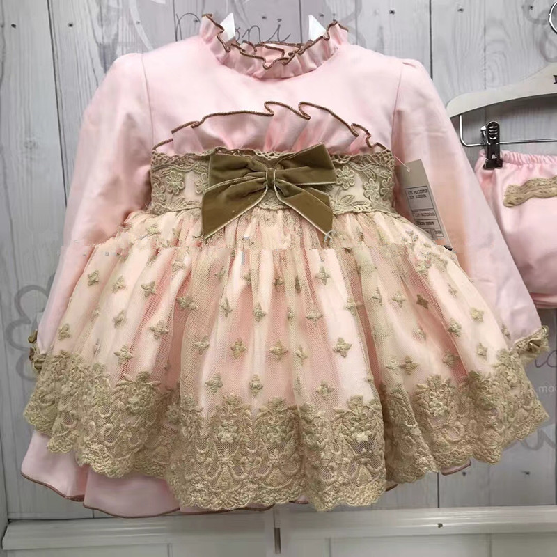 Baby Dress for Girls Princess Brithday Party Dresses Girl Christening Spanish Kids Dress Pink Robe Fille Children Clothing 3PCS girls lace flare sleeve christmas princess dress kids dresses for girls dress kids party dresses children clothing robe fille