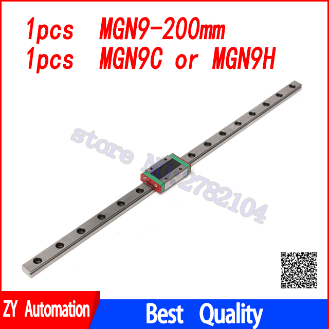 Linear Guide 9mm MGN9 200mm linear rail way + MGN9C or MGN9H Long linear carriage for CNC X Y Z AxisLinear Guide 9mm MGN9 200mm linear rail way + MGN9C or MGN9H Long linear carriage for CNC X Y Z Axis