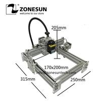 Laseraxe 405nm 1600 mw DIY Desktop Mini Máquina de Gravura do Laser Do Gravador Do Laser Cortador de Laser Etcher 17X20 cm Ajustável poder