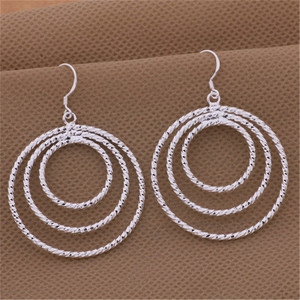 wholesale fashion silver color earrings nice party elegant cute women Charms wedding classic jewelry Round lovly gift LE054