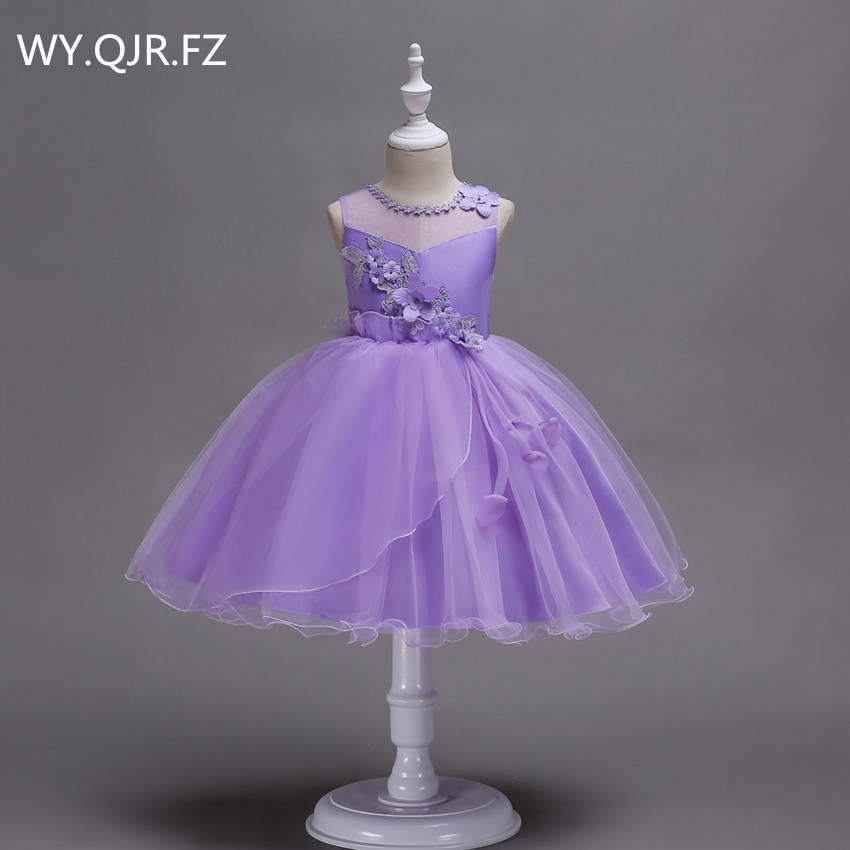 BH700Z#purple short Irregular hem   Flower     girl     dresses   performance party prom   dress   Wholesale cheap children's Ball Gown China