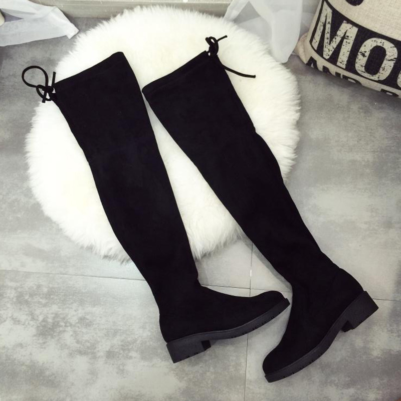 BORRUICE New Women Boots Sexy Fashion Over the Knee Boots Square Low Heel winter Stretch Motorcycle Sexy Boots