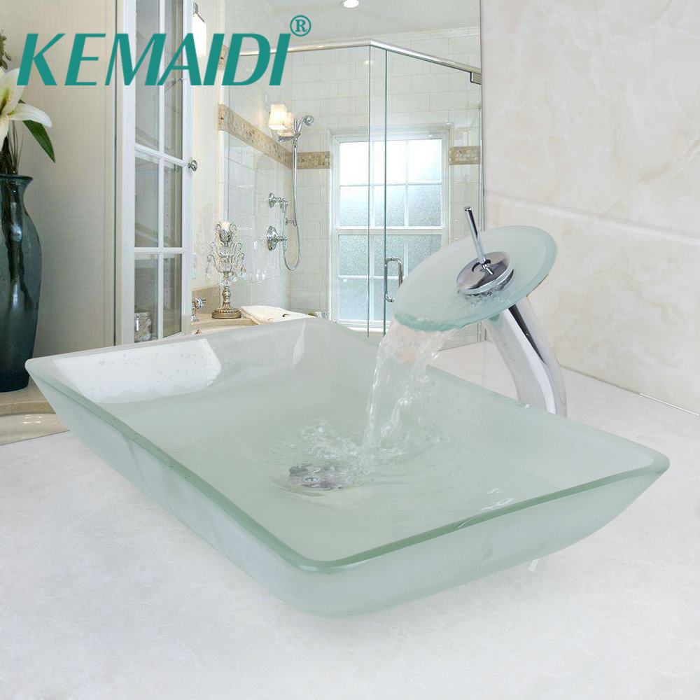 KEMAIDI Scrub Tempered Glass Basin Sink Washbasin Faucet Set Counter ...