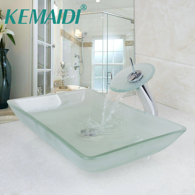 KEMAIDI Scrub Tempered Glass Basin Sink Washbasin Faucet Set Counter ...