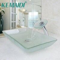 KEMAIDI Scrub Tempered Glass Basin Sink Washbasin Faucet Set Counter top Washroom Vessel Vanity Sink Bathroom Mixer