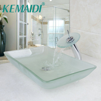 KEMAIDI Scrub Tempered Glass Basin Sink Washbasin Faucet Set Counter Top Washroom Vessel Vanity Sink Bathroom