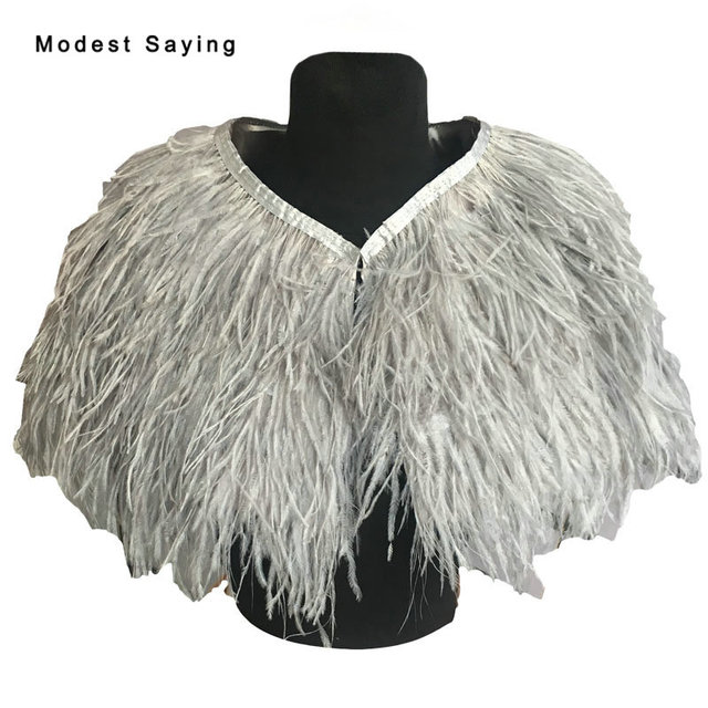 c89f02f7c3f3 Real Photo Elegant Grey Ostrich Feather Wedding Fur Shawls 2017 Bridal  Bolero Cape shrug for evening dresses Wedding Accessories