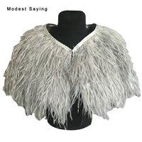 Real Photo Elegant Grey Ostrich Feather Wedding Fur Shawls 2017 Bridal Bolero Cape shrug for evening dresses Wedding Accessories
