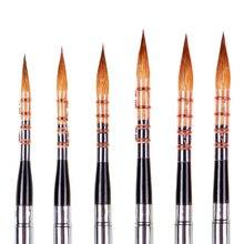 수채화 용품에 대 한 6 pcs 전문 양모 머리 스테인리스 모자 나무 손잡이 예술적 수채화 페인트 브러시