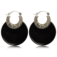 Whtie Chalcedony & Black Agate 925 Sterling Silver Clip Earring Women Vintage Thai Silver Gift Brincos Aretes Jewelry CH021046