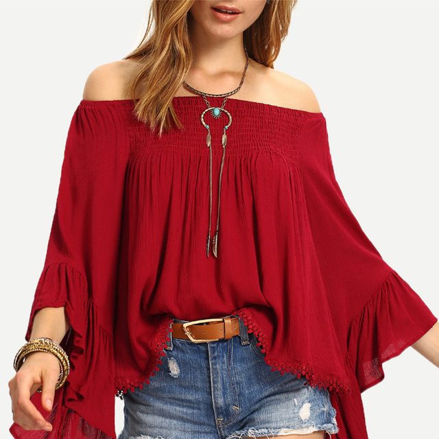 27fde63902ed Sexy Off Shoulder Tops T Shirt 3/4 Sleeve Summer Women T-shirts Slash neck  Butterfly Sleeve Loose Chiffon Blusas