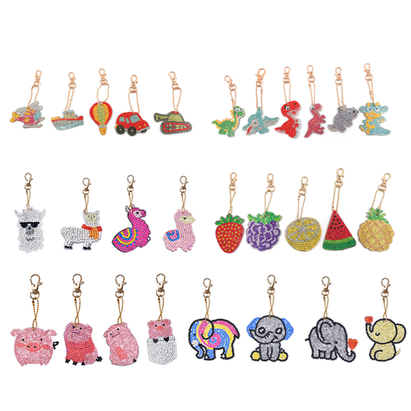 5pcs/set Keychain DIY Full Drill Diamond Painting Cartoon Emotion Cute Animals Love Heart Key Ring Diamond Painting Cross Stitch