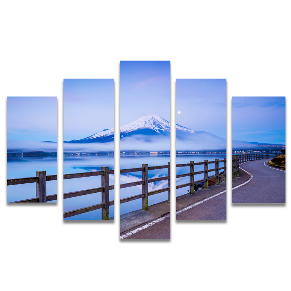 Unframed Canvas Painting Mount Fuji Blue Sky Boardwalk Photo Picture Prints Wall Picture For Living Room Wall Art Decoration