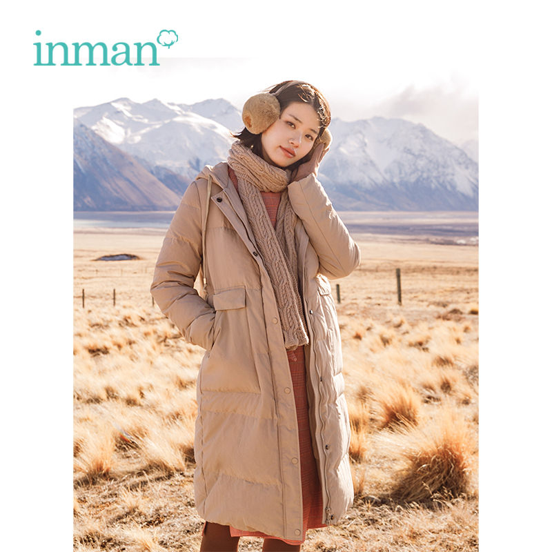 INMANWinter New Arrival Female Hooded Drawstring Loose Casual Long Section   Down     Coat