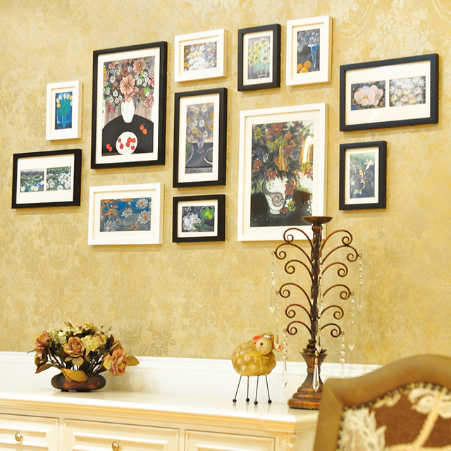 12pcs Black White Photo Frames Wall Hanging Large Picture Home Decor Artistic Porta