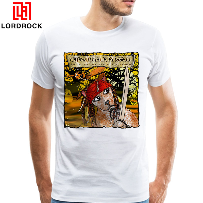 Funny Jack Russell Shirt Men Cool Printed Captain Jack Dog T Shirt Short Sleeves White Fashion Tee Gift Terrier Doge Merchandise