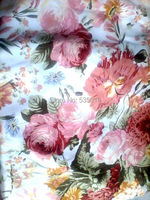 Peach blossom gold clothing digital print silk satin silk fabric one piece dress silk fabric print Silk Fabric