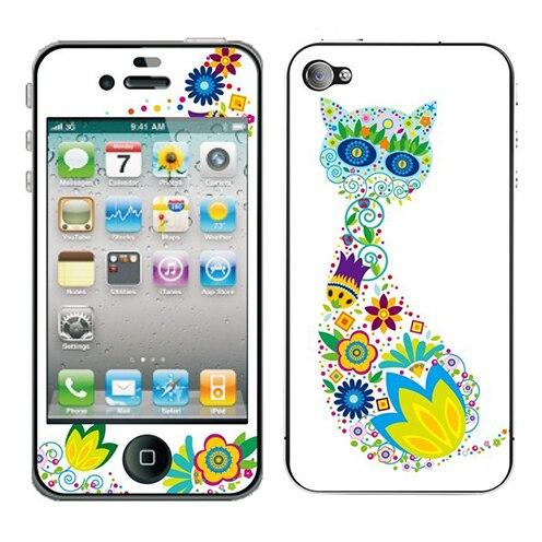 Colorful cat kawaii cartoon sticker for iphone 4s screen