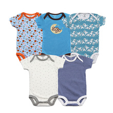 2018 летние детские Комбинезоны для малышек хлопковые короткие Спортивный костюм для малышей 5 шт. брендовая одежда для девочек комплект мультфильм новорожденных ползунки для маленьких мальчиков одежда