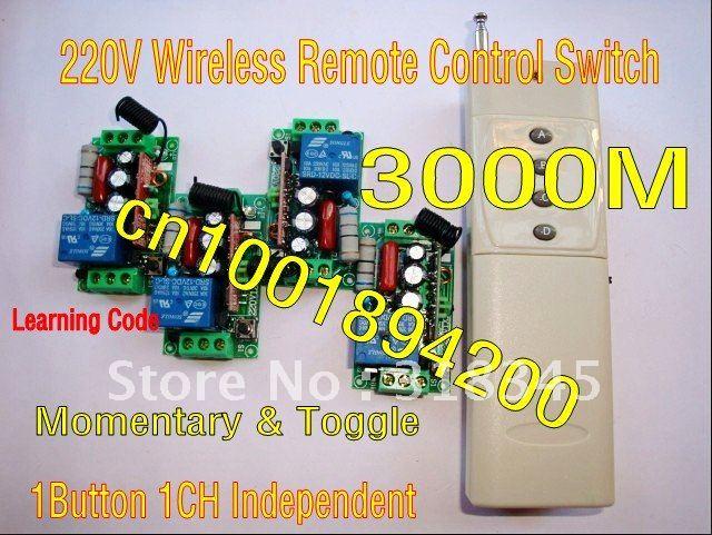 Commutateur sans fil télécommande commutateur système et contrôleur 3000 M 220 V 1CH (canal) 4 récepteur et 1 émetteur 1000 W bascule/momentané