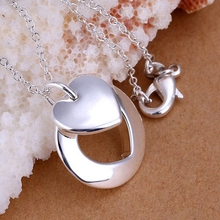 Free Shipping 925 jewelry silver plated Jewelry Pendant Fine Fashion Cute   Couple Heart Necklace Pendants Top Quality CP015