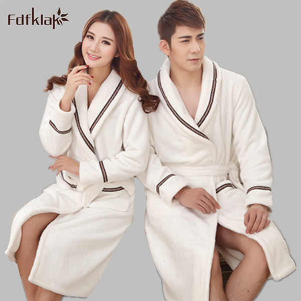 57ce4baae3 Autumn Winter Women Thickening Cotton Flannel Pyjamas Couples Bathrobe Coral  Sleece Warm Sleepwear Plus Size Bath