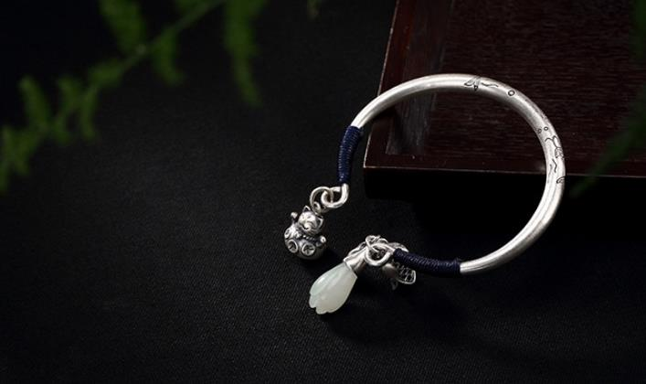 JOOCHEER Sterling S990 990 silver Bangle cat fish lotus natural stone trendy bracelet JOOCHEER Sterling S990 990 silver Bangle cat fish lotus natural stone trendy bracelet
