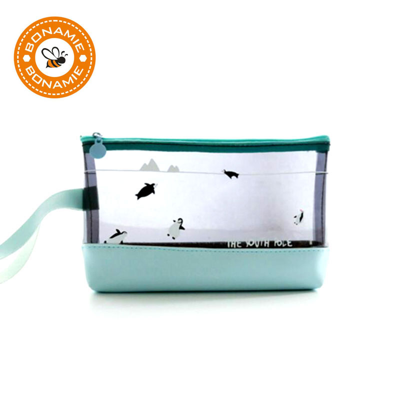 BONAMIE Women PVC Cosmetic Bag Cute Shark Penguin Bear Makeup Bag Lady Transparent Travel Toiletry Pouch Waterproof Make Up Bag пинетки митенки blue penguin puku