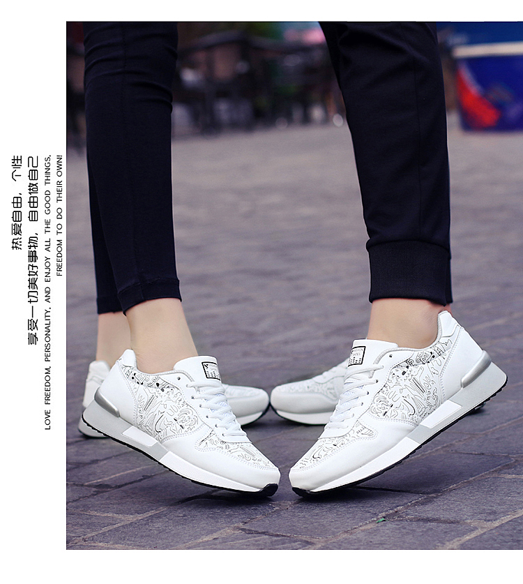 2017 Spring Graffiti Valentine Shoes Women Flat Heel Lace Up Leather Casual Shoes Plush Size 44 Low Top Sport Outdoor Shoes ZD43 (54)