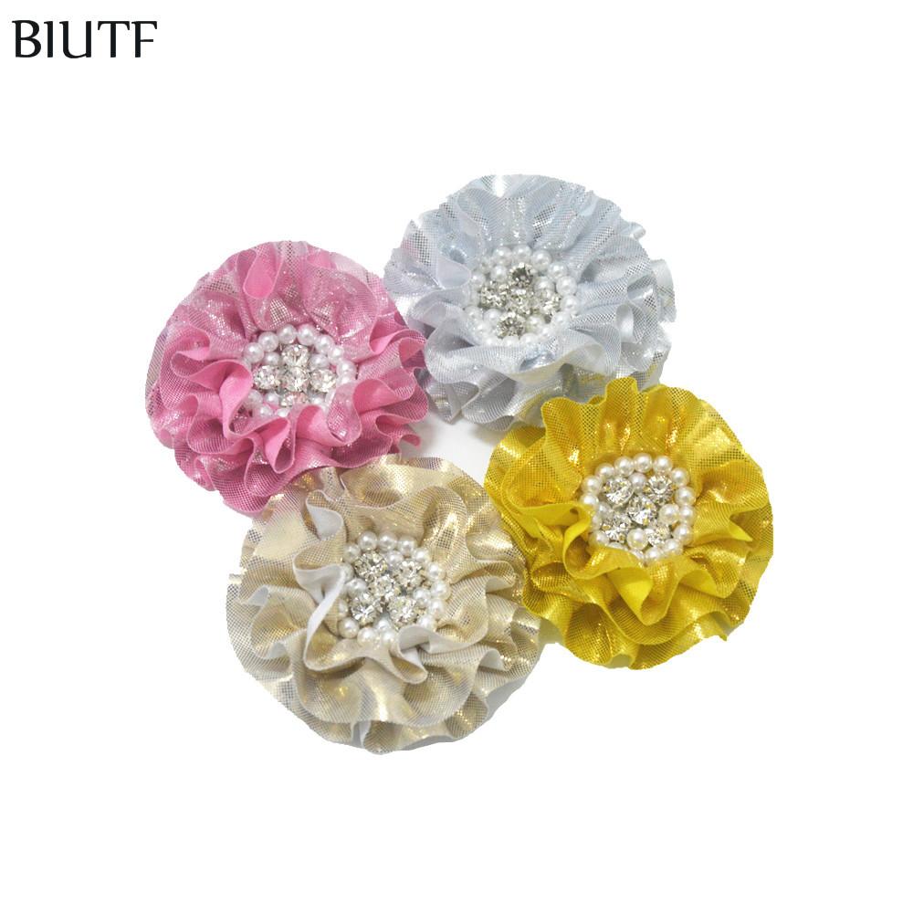 unidslote cm grandes volantes metlico brillante de flores de tela con