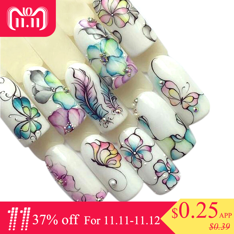 1 Sheets Colorful Purple Fantacy Flowers Nail Stickers Water Transfer Manicure Decals Tip Decoration Stickers For Nails TRSTZ509 10 sheets lot charming nail stickers full wraps flowers water transfer nail decals decorations diy watermark manicure tools