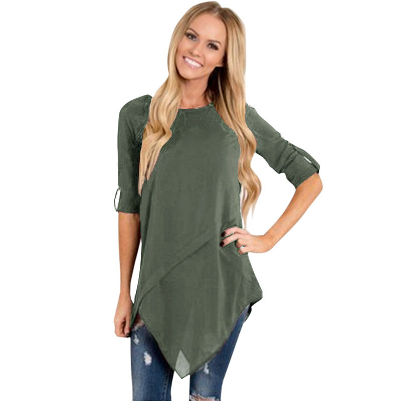 Women Long Sleeve Tops 3XL 4XL 5XL Plus Size   Blouse     Shirts   Irregular Hemline Rolled Buttons Casual Loose Elegant Ladies tunics