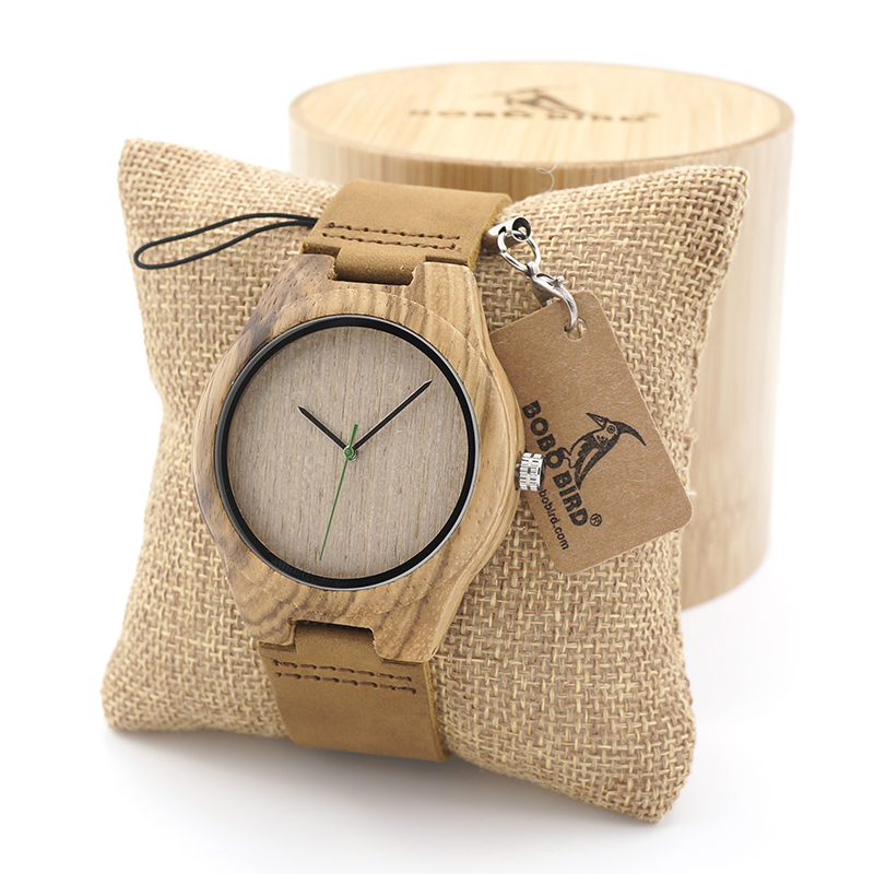 BOBO BIRD Zebra-Stripe Bamboo Wood Quartz Analog Watch With Genuine Cow Leather Strap for Men Women as Gift relojes mujer